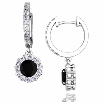 Halo Black and White Diamond Hoop Earrings in 14k Gold, 5mm