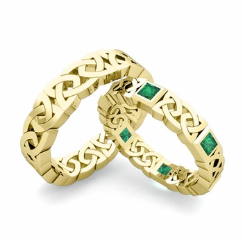 Matching Celtic Wedding Bands in 18k Gold Princess Cut Emerald Eternity Ring