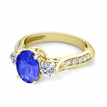 Vintage Inspired Diamond and Ceylon Sapphire Three Stone Ring in 18k Gold, 7x5mm