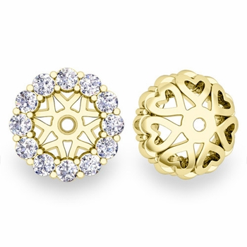 Halo Diamond Earring Jackets in 18k White or Yellow Gold, 6mm
