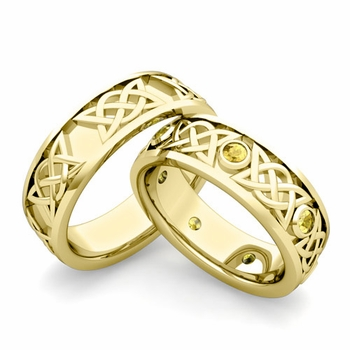 Matching Celtic Wedding Bands in 18k Gold Yellow Sapphire Comfort Fit Ring