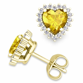 Diamond and Yellow Sapphire Earrings in 18k Gold Heart Earring Studs, 5x5mm