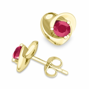Petal Heart Ruby Stud Earrings in 18k Gold, 4x4mm