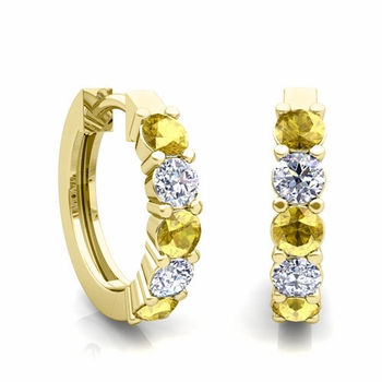 5 Stone Yellow Sapphire and Diamond Hoop Earrings in 18k Gold Hoops