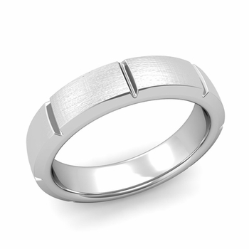 Swiss Cut Wedding Band in Platinum Mixed Brushed Finish Ring, 5mm