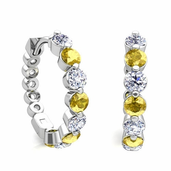 Prong Set Yellow Sapphire and Diamond Floating Hoop Earrings in 14k Gold Hoops