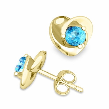 Petal Heart Blue Topaz Stud Earrings in 18k Gold, 4x4mm