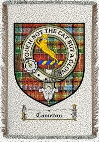 Cameron Clan Chattan Clan Badge Throw Blanket
