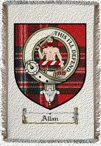 Allan Clan Macfarlane Clan Badge Throw Blanket