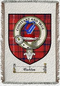 Geddes Clan Rose Clan Badge Throw Blanket