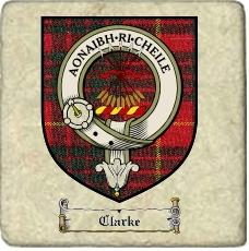Clarke Clan Badge Marble Tile