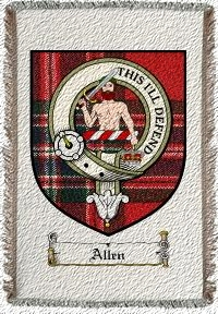 Allen Clan Macfarlane Clan Badge Throw Blanket