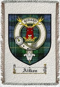 Aitken Clan Badge Throw Blanket