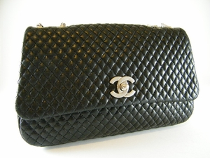 Authentic Chanel Black Bubble Diamond Quilted Lambskin Leather Bag Handbag Evening Purse (SOLD!)
