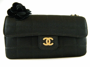 Authentic Chanel Black Silk Quilted Classic Flap Camellia Flower Evening Bag Handbag Purse (MINT!)(SOLD!)