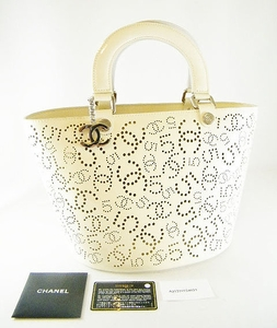 NEW AUTHENTIC CHANEL BEIGE PERFORATED LEATHER LRG TOTE BAG (SOLD!)