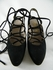 Gorgeous! Authentic Chanel Black Laced Up Suede Heels Shoes