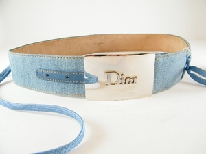 Authentic Christian Dior Blue Jean Lace and Bow Leather Belt (CLEARANCE) (SOLD!)