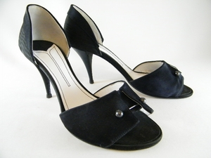 Authentic Chanel Black Satin Heels Shoes