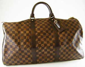 Authentic Louis Vuitton Damier Keepall 50 Leather  Luggage Travel Bag (SOLD!)