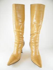 Authentic Jimmy Choo Tan Pointy Tall Boots Heels Shoes (Clearance)