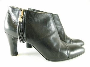 Gorgeous! Authentic Chanel Black Leather Short Boots Heels Shoes (Clearance)