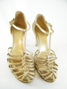 Gorgeous! Authentic Chanel Gold Leather Heels Shoes (Clearance)