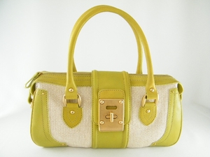$2700 MINT! Auth VALENTINO Green And Beige Leather Bag