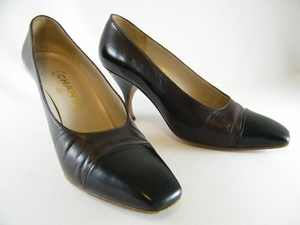 Authentic Chanel Brown and Black Leather Heels Shoes (Clearance)