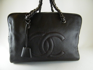 $2500 MINT! AUTH CHANEL BROWN BOWLER LEATHER TRAVEL BAG (SOLD!)