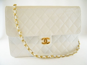 Vintage! Authentic Chanel White Leather Clutch Evening Bag (Clearance) (SOLD!)