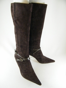 Authentic Nine West Dark Brown Suede Leather Tall Boots Shoes (Clearance)