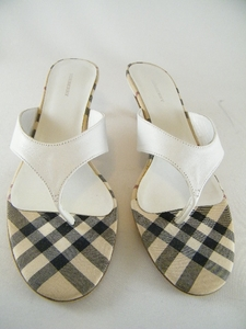 Authentic Burberry White Novacheck Slides Mules Sandals Shoes (Clearance)