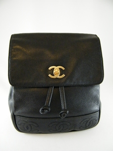 GORGEOUS! AUTHENTIC CHANEL  BLACK CAVIAR LEATHER QUILTED BACKPACK BAG (SOLD)