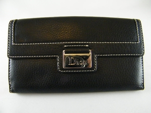 NEW! Authentic Christian Dior Black Leather Wallet