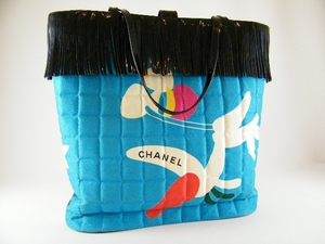 Authentic Chanel Limited Edition Black and Blue Quilted Modern Design Patent Leather Bag Tote Handbag Purse (CLEARANCE) (SOLD!)