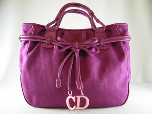 Cute! Authentic Christian Dior Violet Pink Bow Bag Tote (SOLD!)