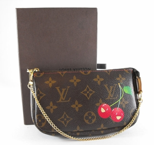 Authentic Louis Vuitton Monogram Cherry Cerises Leather Pouchette Pouch Handbag Bag Purse Clutch