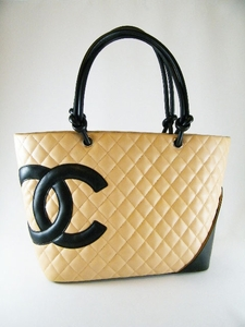 Authentic Jumbo CHANEL Beige Cambon Bag Tote