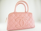 MINT! Authentic Chanel Classic Diamond Quilted Pink Caviar Bowling Leather Bag Handbag Purse Tote