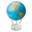 "Mova Globe - 4.5"" Rotating Globe - Blue With Political Map"