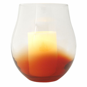 """Red Bourdeaux Stemless Hurricane with with 4x6"""" Ivory Wax Flameless Candle"""