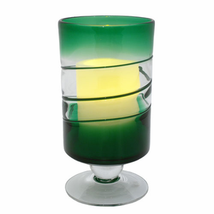 """Green Venezia Footed Hurricane with 3.5 x 5"""" Flameless Candle"""