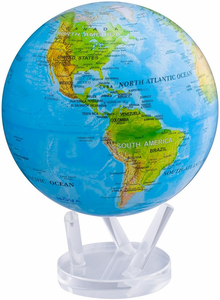 """Mova Globe - 8.5"""" Rotating Globe - Blue with Relief Map"""