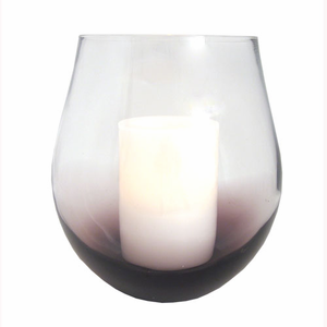 """Purple Bourdeaux Stemless Hurricane with with 4x6"""" Ivory Wax Flameless Candle"""