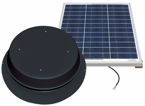 Solar Attic Fan - 50 Watts - 3100 sq ft - Comes with Remote Solar Panel - Black