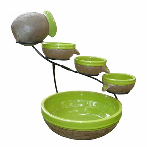 Solar Cascade 4 Tier Ceramic Fountain (Kiwi Green)