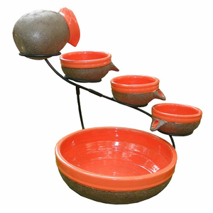 Solar Cascade 4 Tier Ceramic Fountain (Tangerine)