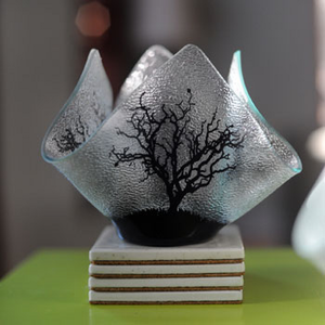Votive Holder - BLACK TREE - Recycled Glass Candle Holder