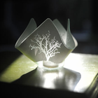 Votive Holder - WHITE TREE - Recycled Glass Candle Holder
